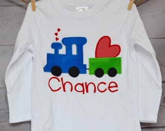 Personalized Valentine's Train Heart Applique Shirt or Onesie Girl or Boy
