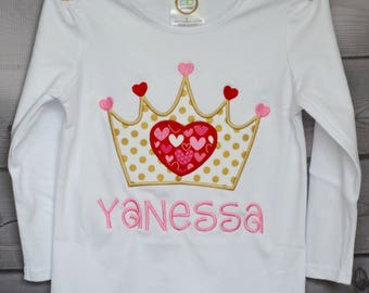 Personalized Valentine's Day Heart with Princess Crown Tiara Applique Shirt or Onesie Girl or Boy