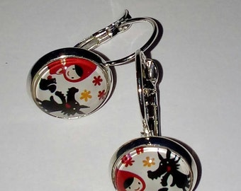 Little Red Riding Hood and Wolf earrings