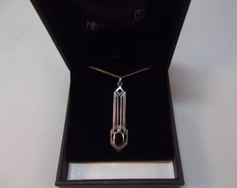 Beautiful Rennie Mackintosh Style Long Sterling Silver Pendant and Chain