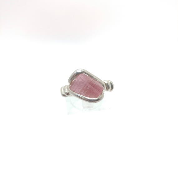 Raw Tourmaline Ring   Sterling Silver Ring Sz 9   Rough Tourmaline Ring   Uncut Gemstone Ring   Tourmaline Jewelry   October Birthstone