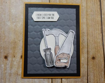 Masculine Greeting Card / Handmade / Blank Inside Greeting Card / Stamped Greeting Card