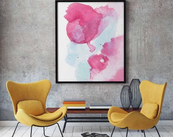 Pink and Blue Abstract Print- Abstract Print. Pink and Blue Abstract. Modern Abstract Print