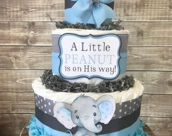 Little Peanut Diaper Cake in Blue and Gray, Elephant Baby Shower for Boys, Elephant Centerpiece, Elephant Baby Shower Decoration