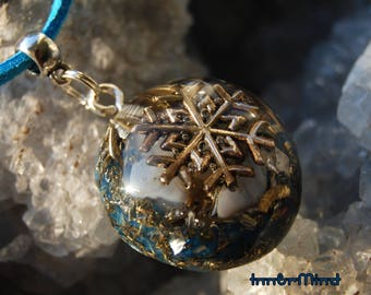 Blue Chalcedony Orgone Orgonite®  Pendant Necklace Unisex Snowflake EMF Protection Healing Positive Energy Generator HomeMade original