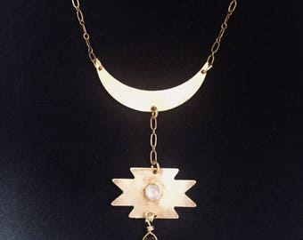 Southwestern Moonstone Smokey Quartz Brass Necklace