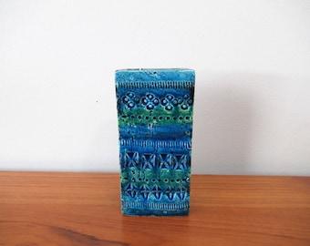 Vintage BITOSSI Rimini Blu Vase,  Aldo Londi, Rectangle, 727/15, Studio Pottery, made in Italy, Mid Century, Modern, 1960s