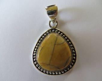 Bracitated Mookaite Honey Mustard Silver Pendant