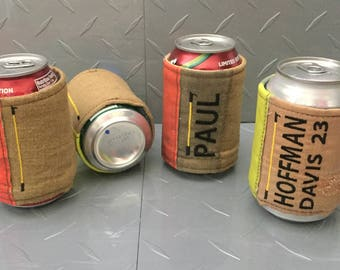 Firefighter Cozy - Customized Can Cozi - Firefighter Beer Cooler - Personalized Firefighter Gift - Soda Can Cosy - Drink Sleeve - T25