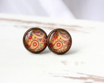 Boho earrings, 12 mm, flower, abstract, boho stud earrings, earrings paisley pattern