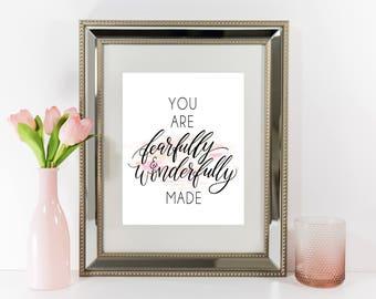 Fearfully and Wonderfully Made Printable, Christian print Psalm 139:14, Scripture print, Nursery Printable Wall Art, Calligraphy Nursery,