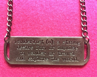 Wanderlust Bar Necklace \\ Gunmetal Jewelry \\ Gunmetal Chain