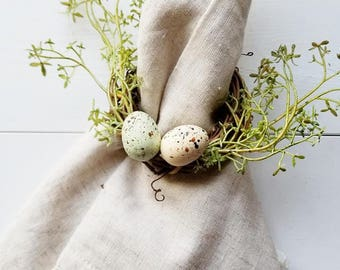 Napkin Rings - Farmhouse Napkin Ring - Farmhouse Decor - Tablescape Decor - Babys breath - eggs - Cottage Decor - Spring Decor - Table Decor
