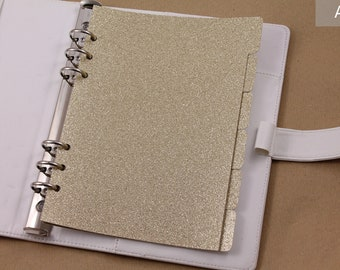 A5 planner dividers, dividers for ring planner, gold glittered dividers, set of 6 dividers