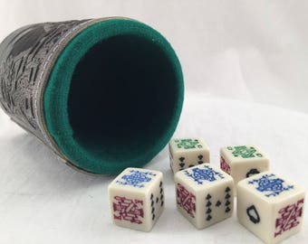 cubilete MEXICAN POKER DICE leather dice cup shaker