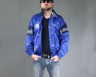 Hummel Plus Size Blue Sports Bomber Jacket, Vintage Men's Zip Up Coach Jacket, 90s Outerwear Sports Top, Short Hip hop Blazer, Casual Coat