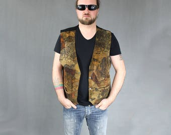 Vintage world map print etsy plus size trachten brown leather 90s world map print vest vintage motorcycle waistcoat biker steampunk gumiabroncs Gallery