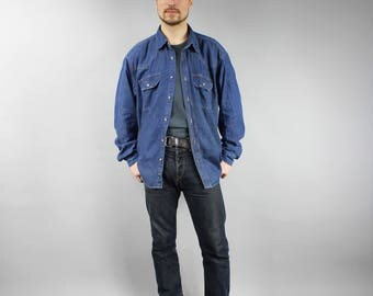 Vintage PLUS SIZE Grunge Blue Denim Shirt . 90s Dark Wash Blue Rocker Jean Blazer . Men's Button Down Long Sleeve Denim Shirt Extra Large