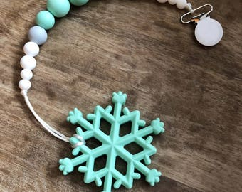 Snowflake Teether, Pacifier Clip, Soother Clip