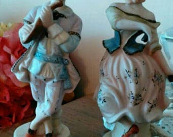 Set of 2 Boy Serenading Girl Figurines by Ardalt - Romantic Decor - Piano Nick Nacks - Stamped and Numbered - Exquisitely Painted!