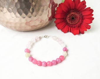 Pink beaded bracelet, Rose quartz bracelet, pink semi precious gemstone bracelet, girly jewellery, gift for her, Handmade in the UK