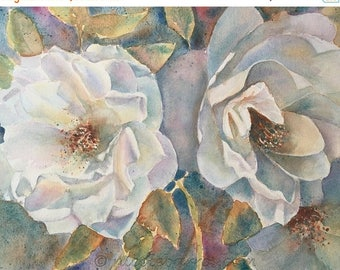 "20% off White Roses, Flowers, Original watercolour painting 15.5""x12"" Floral painting, Home decor, Fine Art, White Flowers, Rose Painting"