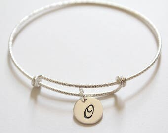 Sterling Silver Bracelet with Sterling Silver Cursive O Letter Charm, Bracelet with Silver Letter O Pendant, Initial O Charm Bracelet, O