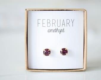 February Birthstone Earrings - Amethyst Studs - Birtstone Studs - Birthstone Earrings - Birthstone Jewelry - Birthstone Ear Studs
