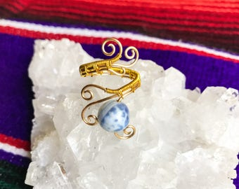 Blue Fire Agate Gold Ring || Handmade Adjustable Accessory