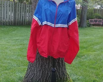 Vintage Red and Blue Eddie Bauer Windbreaker Jacket XL