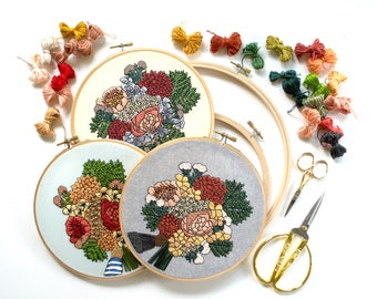 Out of Retirement! Advanced Hand-Embroidery Pattern By Sarah K. Benning: Early Summer Bouquet Instant Digital Download PDF