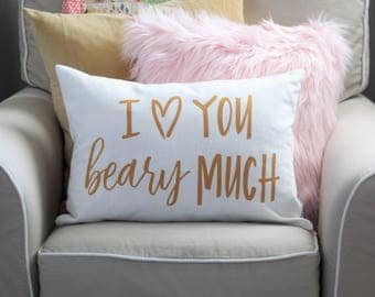 I love you Beary much, 14x20 pillow cover, customize your colors