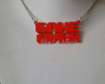 Large Red Game Over Laser Cut Acrylic Word Pendant Necklace on Silver, Bronze, Gold or Gunmetal Crossed Chain