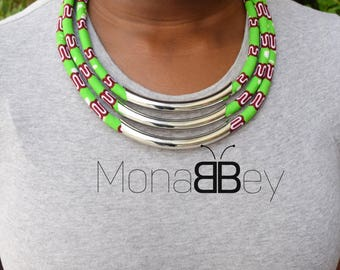 Green African fabric necklace, statement necklace, african necklace for women, birthday gift, bijoux ethniques, bijoux africains