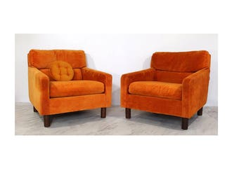 Vintage Mid Century Modern Selig Pair of Lounge Cube Tub Arm Chairs 1970s