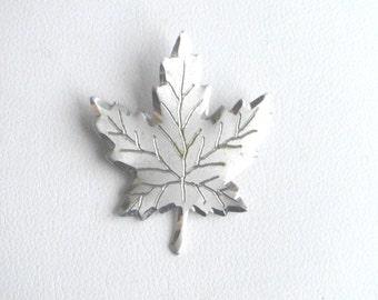 Vintage sterling silver brooch, Maple leaf brooch, lapel pin, vintage silver jewellery
