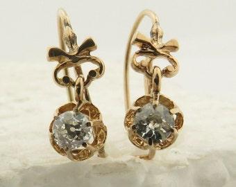 Antique 14 kt Light Rose Gold Old European Cut Diamond (est. .25 carats, t.w. = .50 carats, SI,IJ) Dangle Drop Earrings.