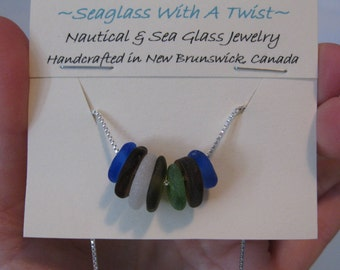 drilled seaglass bead necklace, colorful glass necklace, tiny sea glass charm necklace, SeaglassWithATwist