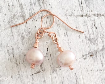 Pearl Earrings Rose Gold Jewelry Set Single Pearl Earrings Bridesmaid Jewelry Set Blush Pink Pale Pink Earrings Blush Bridal, Matching