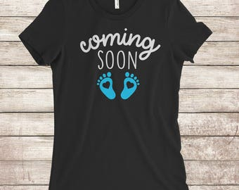 Coming soon baby announcement shirt for men and women.