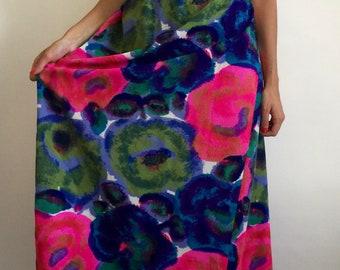1960's Lauhala of Hawaii Floral Halter Maxi Dress - Resort Wear - Velvet Trim