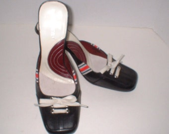 Nine West 1990's Black Spectator Pumps Shoes with Red White & Blue comfortabler Size 7.5 M MINT