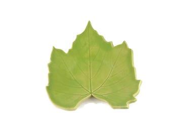 Grape Leaf dish - pottery - lime green - wasabi green - ring dish - spoon rest - fall leaf - fall decor