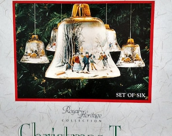 Currier & Ives Royal Heritage Christmas Tree Ornaments-Set of 6-Vintage-Made in England
