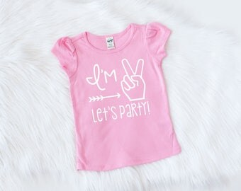 Girls Second Birthday Outfit - Im Two Lets Party - Second Birthday - Second Birthday Shirt - 2nd Birthday Shirt - Girls 2nd Birthday Shirt