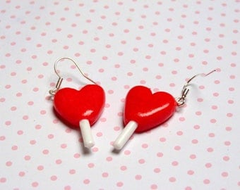 Earrings gourmet lollipops hearts