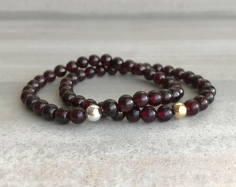 Genuine Garnet Bracelet | Gold or Silver Bead Stretch Bracelet | Garnet Jewelry | Hand Beaded Crystal Bracelet | January Birthstone Jewelry