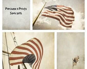 Rustic American Flag Prints, patriotic decor, 3 art prints set, kitchen wall art, rustic wall art, vintage style wall art, flag photographs