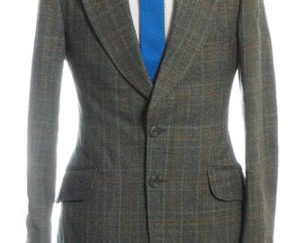 Vintage 1970's Burton Green Check Suit 36 XS- www.brickvintage.com