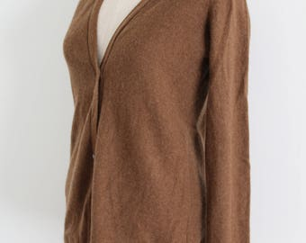 Soft Brown Cashmere Cardigan Sweater